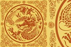中国古典花边和龙纹图案矢量素材