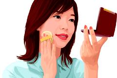 化妆女性人物矢量素材
