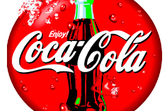 精细绘制可口可乐圆形标志矢量素材