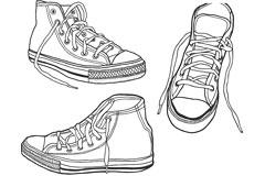 简单线条勾勒运动鞋矢量素材