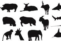 多款陆地海洋动物黑白剪影矢量素材
