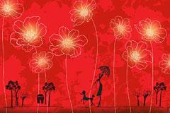 一款红色花朵封面设计背景矢量素材