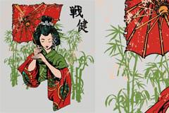 身着和服的日本少女矢量素材