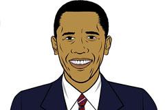 漫画风格奥巴马画像矢量素材