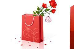 礼物和玫瑰情人节元素矢量素材