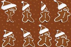 雪人巧克力饼干背景矢量素材