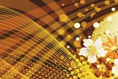 金色年华花卉线条背景矢量素材