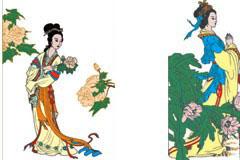 几幅婀娜多姿的中国古代仕女图矢量素材