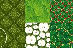 5款漂亮的绿色植物果蔬背景矢量素材