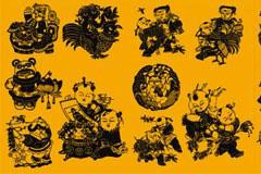 中国传统那剪纸文化矢量素材