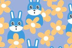 可爱兔子花卉连续背景矢量素材