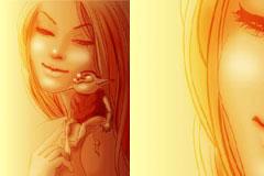 漫画风格梦幻女孩和小精灵矢量素材