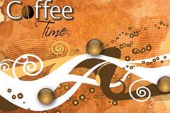 怀旧风格咖啡主题背景矢量素材