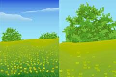 春天一望无际的原野矢量素材
