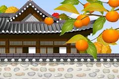 中国古代风格阁楼建筑一角矢量素材