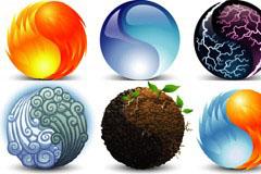 大自然元素太极图案矢量素材