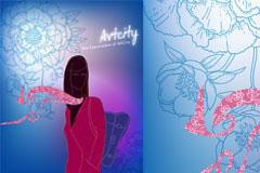 个性抽象女性封面背景矢量素材