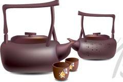 古色古香中国紫砂壶矢量素材