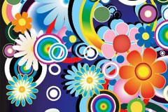 潮流缤纷花朵平铺背景矢量素材