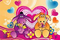 爱情主题可爱卡通驴子矢量素材
