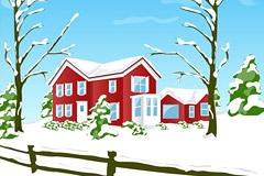 一款韩国风格雪景插画矢量素材