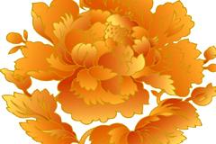 中国传统金色牡丹纹样矢量素材