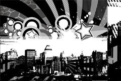 黑白潮流都市缩影矢量素材