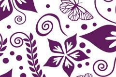 漂亮的紫色调蝴蝶花卉背景矢量素材