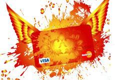 飞翔的信用卡创意设计矢量素材
