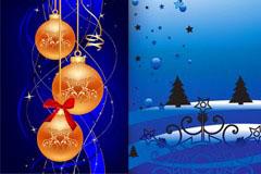 几款精美圣诞节装饰圆球背景矢量素材