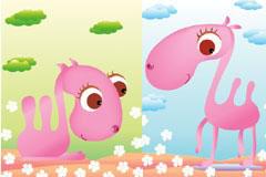 可爱卡通粉色骆驼矢量素材