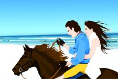 海边策马奔驰的情侣矢量素材