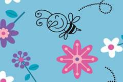快乐的小蜜蜂和可爱花朵平铺背景矢量素材