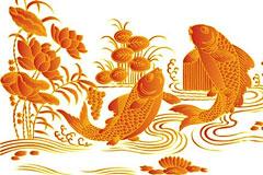中国传统鲤鱼跳龙门吉祥矢量图
