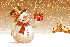 可爱精美雪人圣诞节元素矢量素材