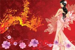 古典梦幻美女和花纹矢量素材