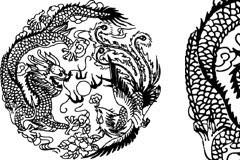 中国传统吉祥龙凤图案矢量素材