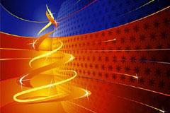 圣诞树与立体空间背景矢量素材