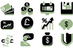 一组商务风格金融图标矢量素材