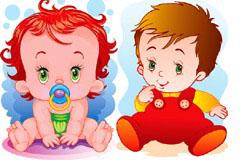 可爱婴儿矢量素材