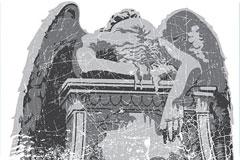 悲伤的天使雕像矢量素材