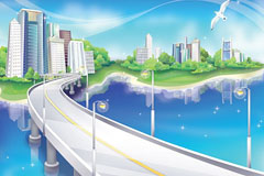 梦幻城市建筑矢量图