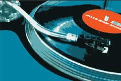 怀旧风格唱片机特写矢量素材