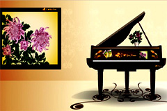 典雅钢琴和中国国画背景矢量素材