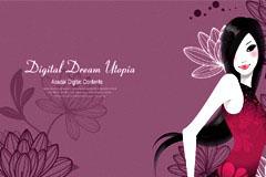 时尚花纹美女封面背景设计矢量素材