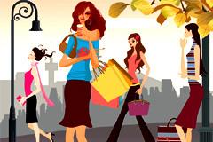 时尚购物女性插画矢量素材