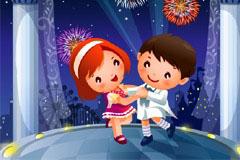 2款舞蹈主题卡通儿童插画矢量素材