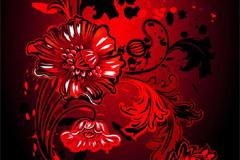 个性潮流红色花卉背景矢量素材