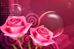 梦幻爱心玫瑰背景矢量素材