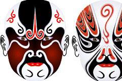2款精美中国传统京剧脸谱矢量素材